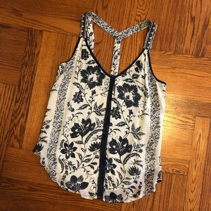 Lucky Brand Floral Blouse Woven Straps sz S
